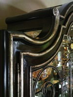 Piazza San Marco Display Cabinet shown with:Old World Sumatra finishVersailles Leaf trimContrast interior in Briar finishDecorative metalwork in Antique Silver finishAntique Nickel hardware