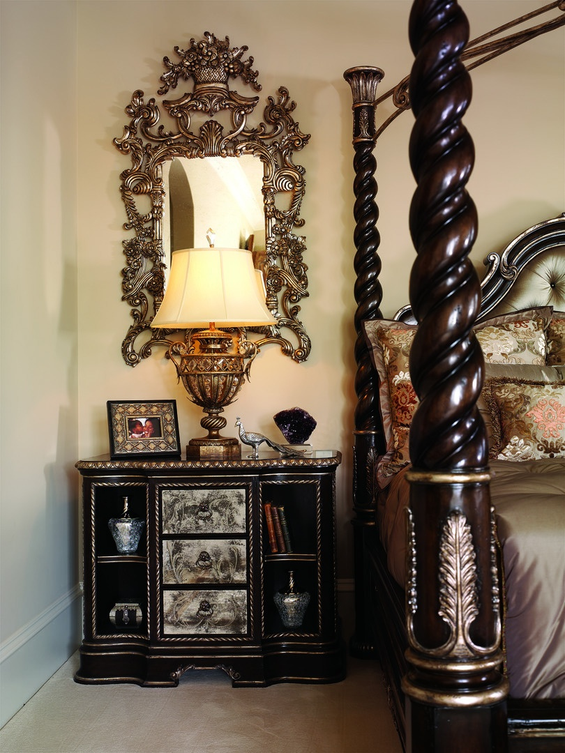 Piazza San Marco Nightstand shown with:Old World Orleans finishVersailles Leaf trimDecorative Venetian painted mirror on drawer facesAntique Nickel hardware