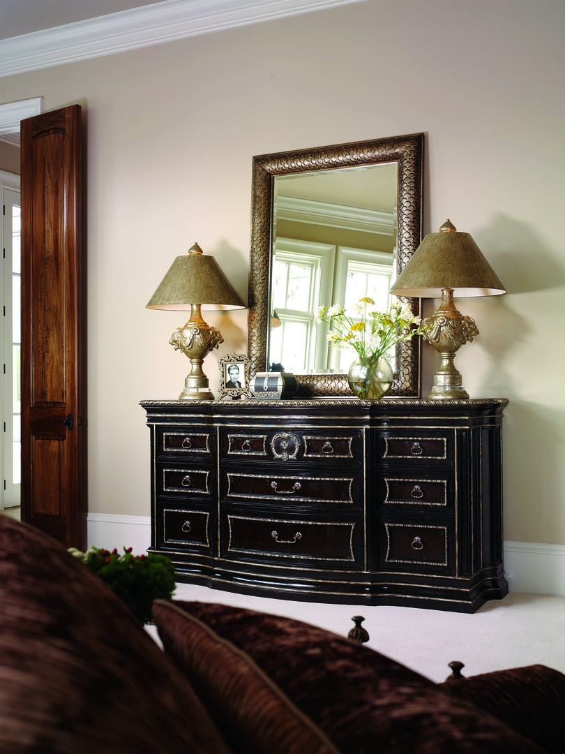 Piazza San Marco Dresser shown with:Old World Orleans finishVersailles Leaf trimAntique Nickel hardware