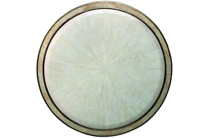 Redondo Round End Table top shown with:Versailles finishPolished Crystal Stone Alabaster top and inset top frame
