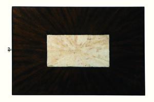 RedondoChairsideTable top shown with:Bombayfinish withPolished Crystal Stone Taupe insetPolished Nickelhardware