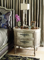 Rivoli Nightstandshown with:Silver Cloud finishPolished Madeira Marble topAntique Nickel hardware