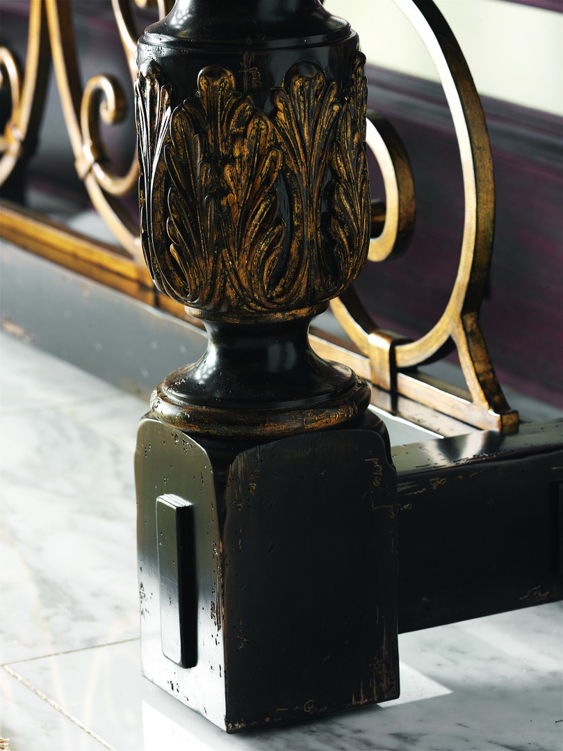 Seville Console shown with:Old World Vintage Noir finishAged Gold Leaf finish trimDecorative metalwork in Antique Gold finishPolished Madeira Marble top