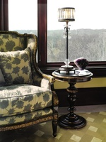 Seville Chairside Table shown with:Old World NochefinishAged GoldLeaf finish trim