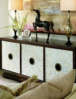 Sonoma Credenza shown with:Havana finishEbony Paint trim inside door pullTextured Pearl shell door facesAntique Nickel hardware