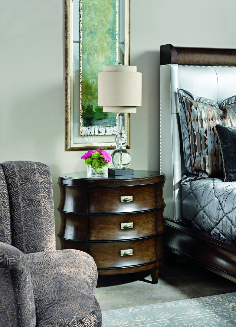 Sonoma Nightstand shown with:Distressed Kona finish with Ebony Paint finish trimVeneer topBronze hardware