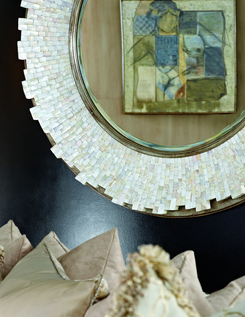 Sonoma Mirror shown with:Silver Cloud FinishTextured Pearl shell faceClear mirror with beveled edge