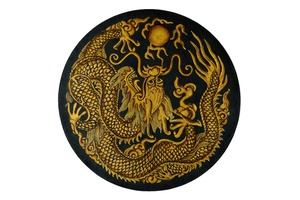 Tao Round End Table top:Dragon hand painted glass top