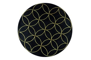 Tao Round End Table top:Spirograph hand painted glass top