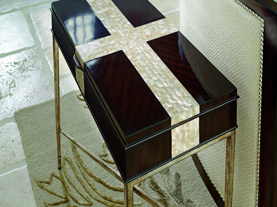 Tao Chairside Table shown with:Versailles finish on metal baseBombay finish on wood topPolished Silver Mosaic shell inset on top