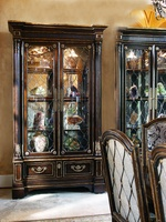 Trianon Court Display Cabinet shown with:Old World Havana finishAged Gold Leaf finish trimDecorative metalwork in Aged Metal finish withAged Gold Leaf finish trimAntique Brass hardware