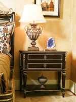 Trianon Court Nightstand shown with:Old World Havana finishBurnished Silver Leaf finish trimMedici Nickel hardware