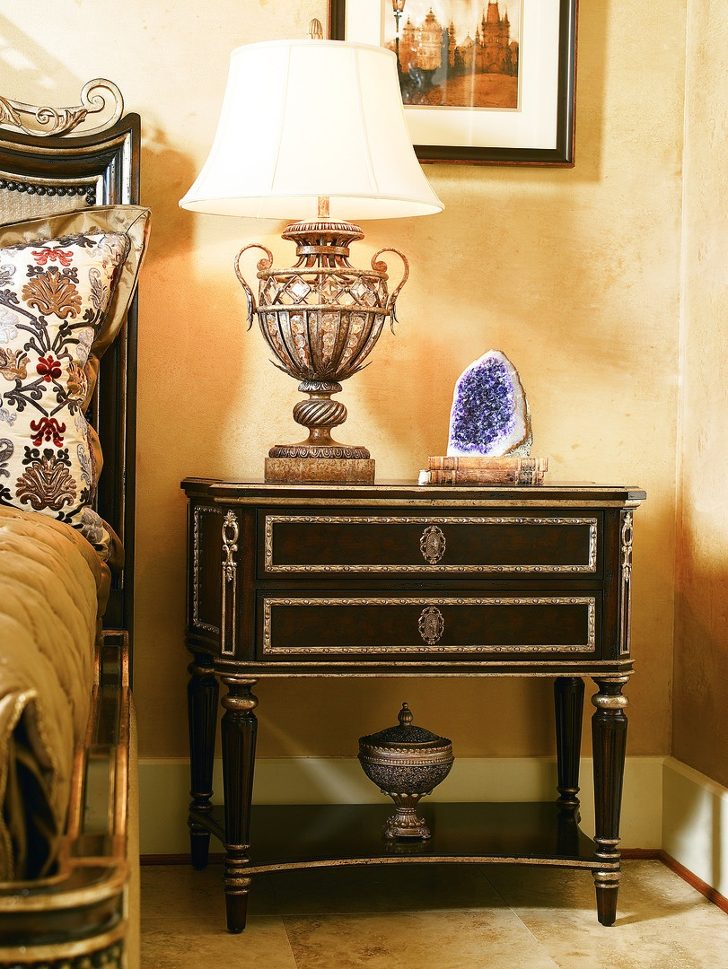 Trianon Court Nightstand shown with:Pompeii finishPolished Madeira Marble topAntique Nickel hardware