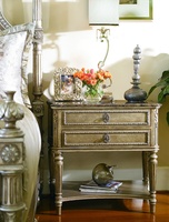 Trianon Court Nightstandshown with:PompeiifinishPolished Madeira Marble topAntiqueNickel hardware