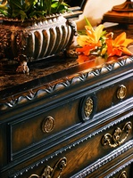 Trianon Court Dressershown with:Polished Madeira Marble topAntique Brasshardware Available in a selection of finishes and finish trims