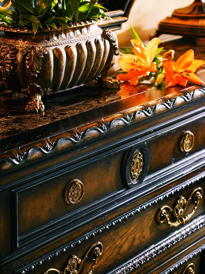 Trianon Court Dresser shown with:Old World Orleans finishSilver Cloud finish trimAntique Nickel hardware