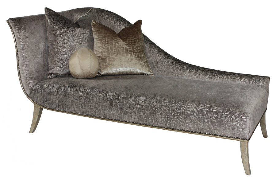 Andrea Chaise shown with:Tight seatBurnished Silver finishGunmetal nailhead frame trim