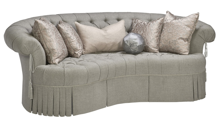 Amara Sofa shown with:Tufted seat with Silver Star buttonsBox pleated deep skirt with built-in sidesTassel ties