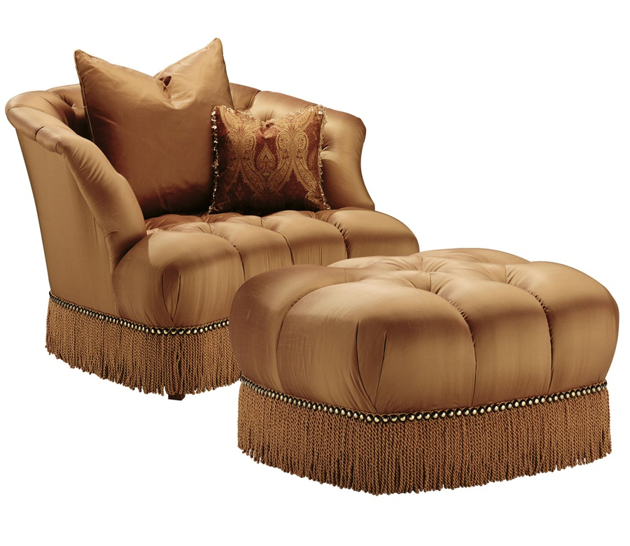 Alexander Chair shown with:Button tufted seat and backBullionFrench Natural nailhead frame trim