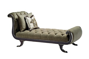 Aphrodite Chaise shown with:Button tufted seat and back Bombay finishVersailles Leaf finish trim