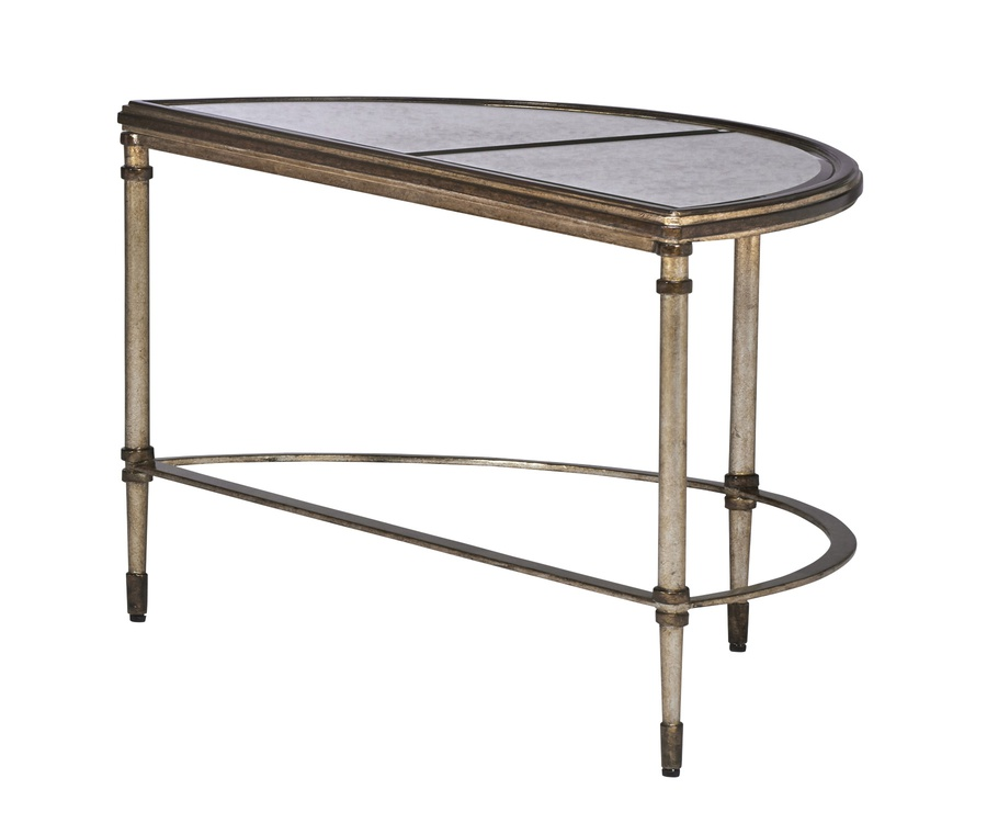 Arcadia Bunching Cocktail Table shown with:Burnished Silver finishBronze finish trimAntique Mirror inset top