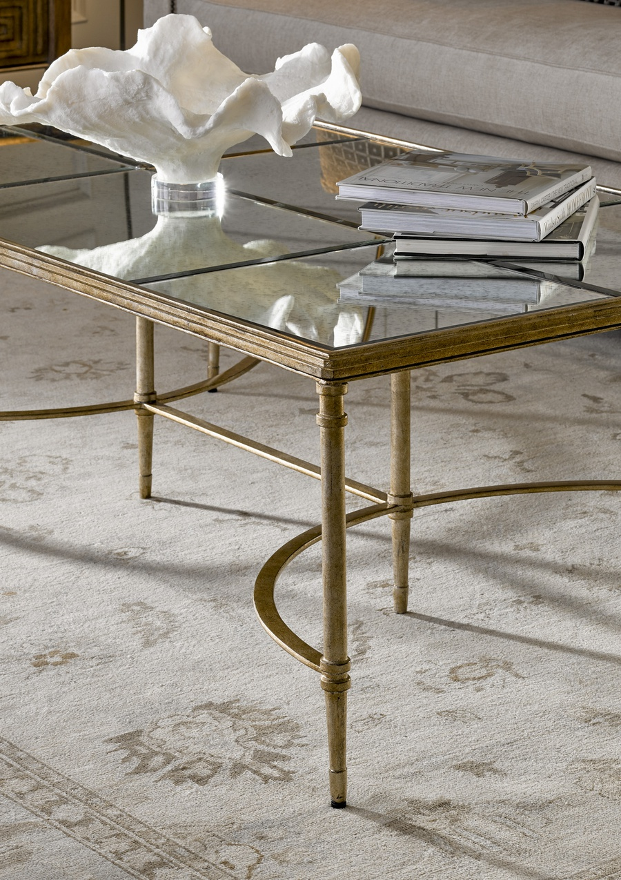 Arcadia Cocktail Table shown with:Bronze finishAged Gold Leaf finish trimRegency Mirror top