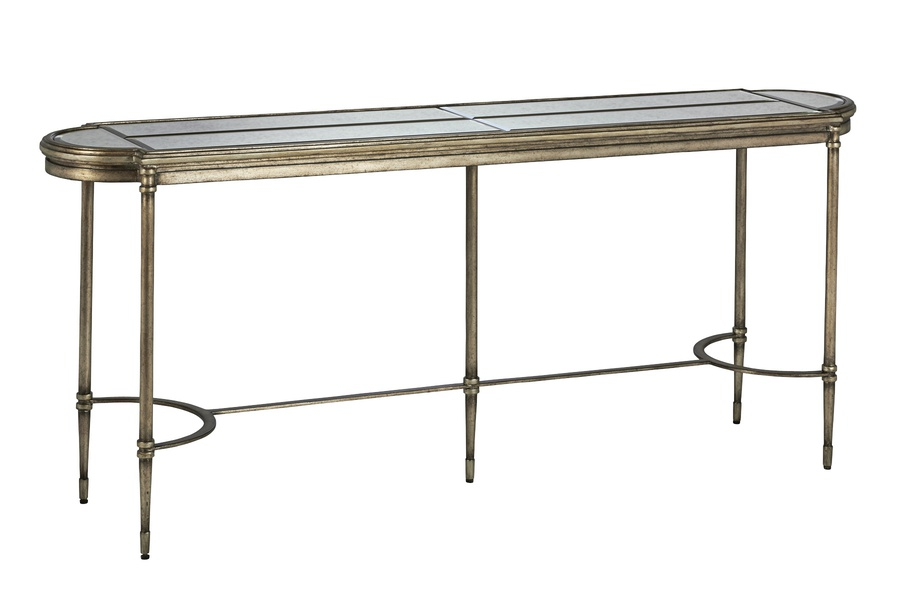 Arcadia Console shown with:Bronzed Silver finishVerona Silver finish trimAntique Mirror inset top