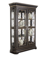 Arcadia Display Cabinet shown with:Noche finishBronzed Silver Leaf finish trimDecorative Metalwork in Bronzed Silver finishAntique Nickel hardwareAntique Mirror back