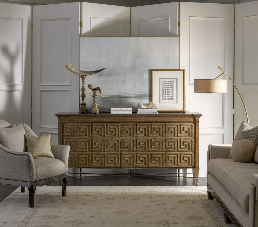 Arcadia Credenza shown with:Saddle finishBronzed Silver finish on Greek Key doors