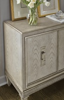 Arcadia Nightstand shown with:Dapple finishBronzed Silver Leaf finish trimDapple topAntique Nickel hardware