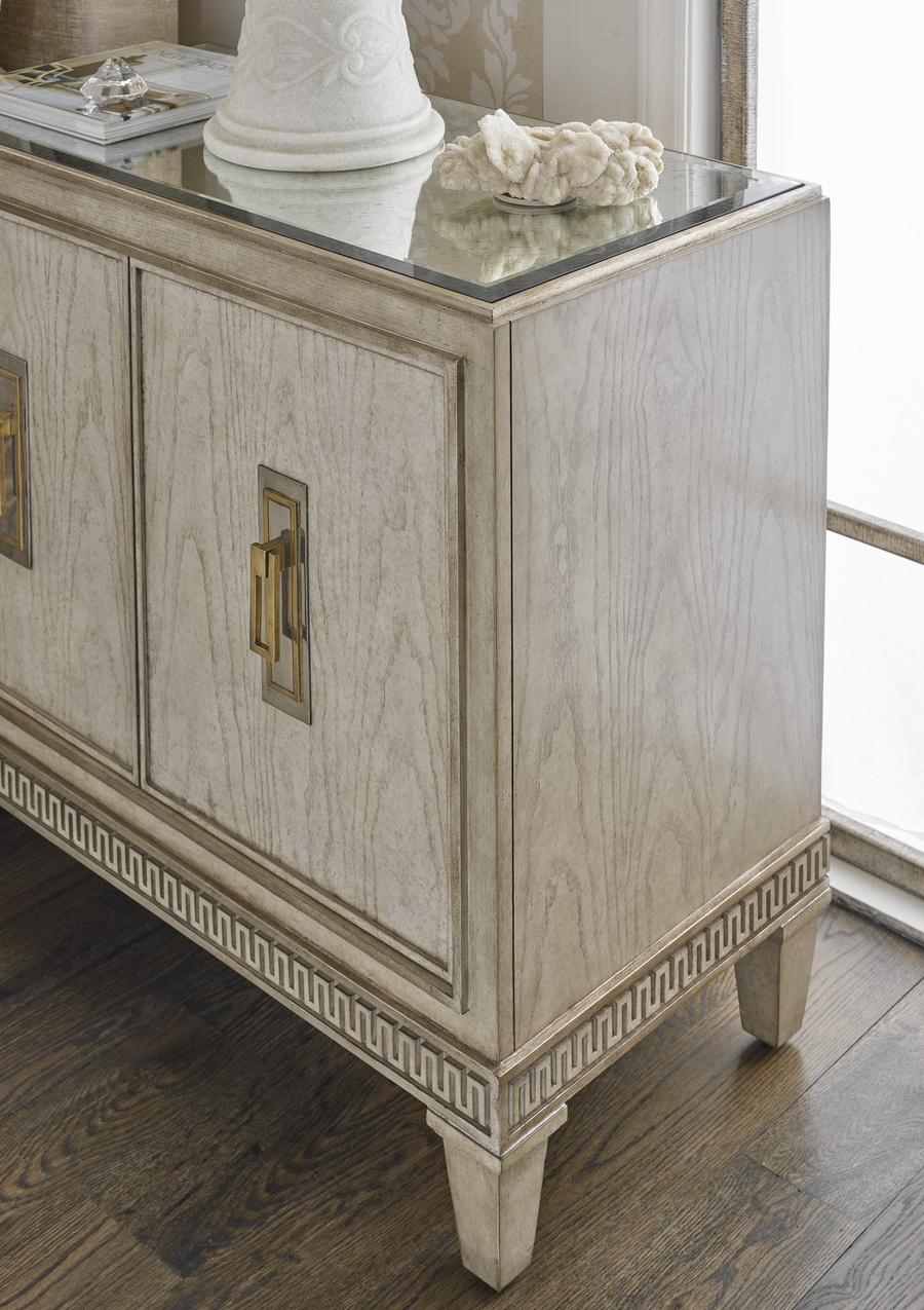 Arcadia Nightstand shown with:Dapple finishBronzed Silver Leaf finish trimAntique Mirror topAntique Nickel hardware