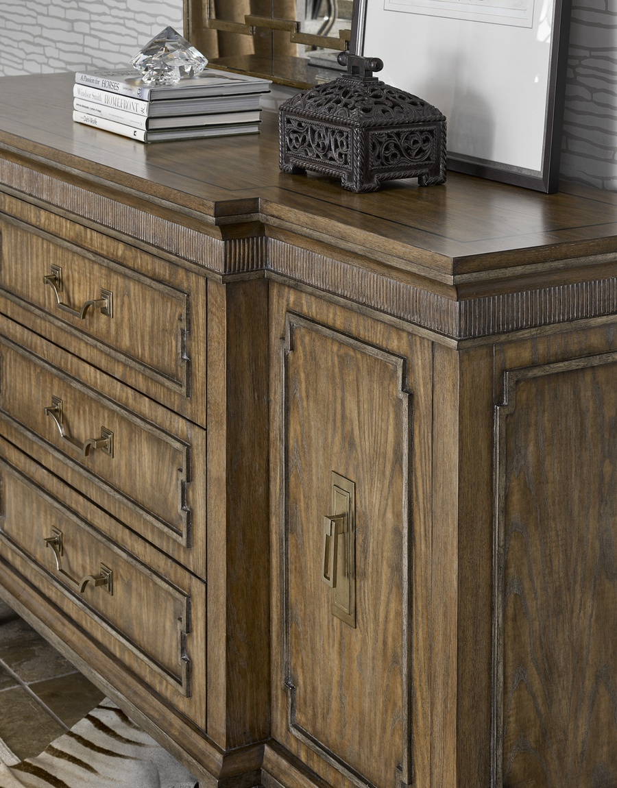 Arcadia Dresser shown with:Dapple finishBronzed Silver Leaf finish trimAntique Nickel hardware