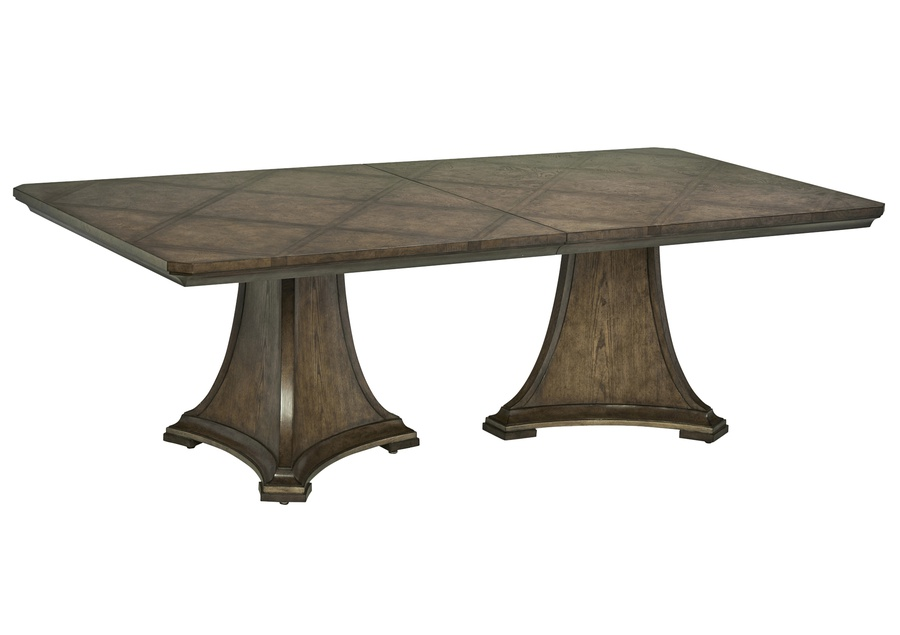 "Arcadia Dining Table shown with:Signature finishBronzed Silver Leaf finish trim24"" leaf"
