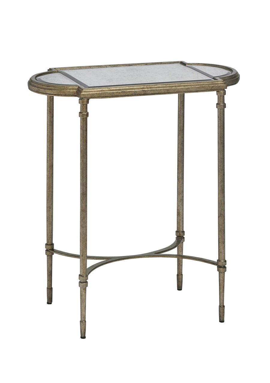 Arcadia Chairside Table shown with:Burnished Silver finishAntique Mirror top