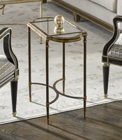 Arcadia Chairside Table shown with:BronzefinishAged Gold Leaf finish trimRegencyMirror top