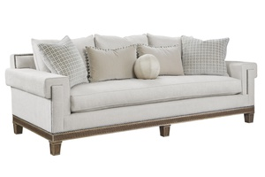 Arcadia Sofa shown with:Boxed bench seatSignature finish with Burnished Silver Leaf finish trimGunmetal nailhead frame trim