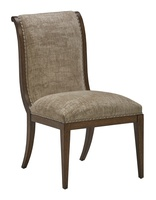 Arcadia Side Chair shown with:Signature finishBronzed Silver Leaf finish trimSmall Silver nailhead spaced over fabric tape
