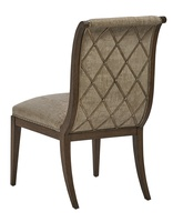 Arcadia Side Chair shown with:SignaturefinishBronzedSilver Leaf finish trimSmall Silver nailhead spaced over fabric tape