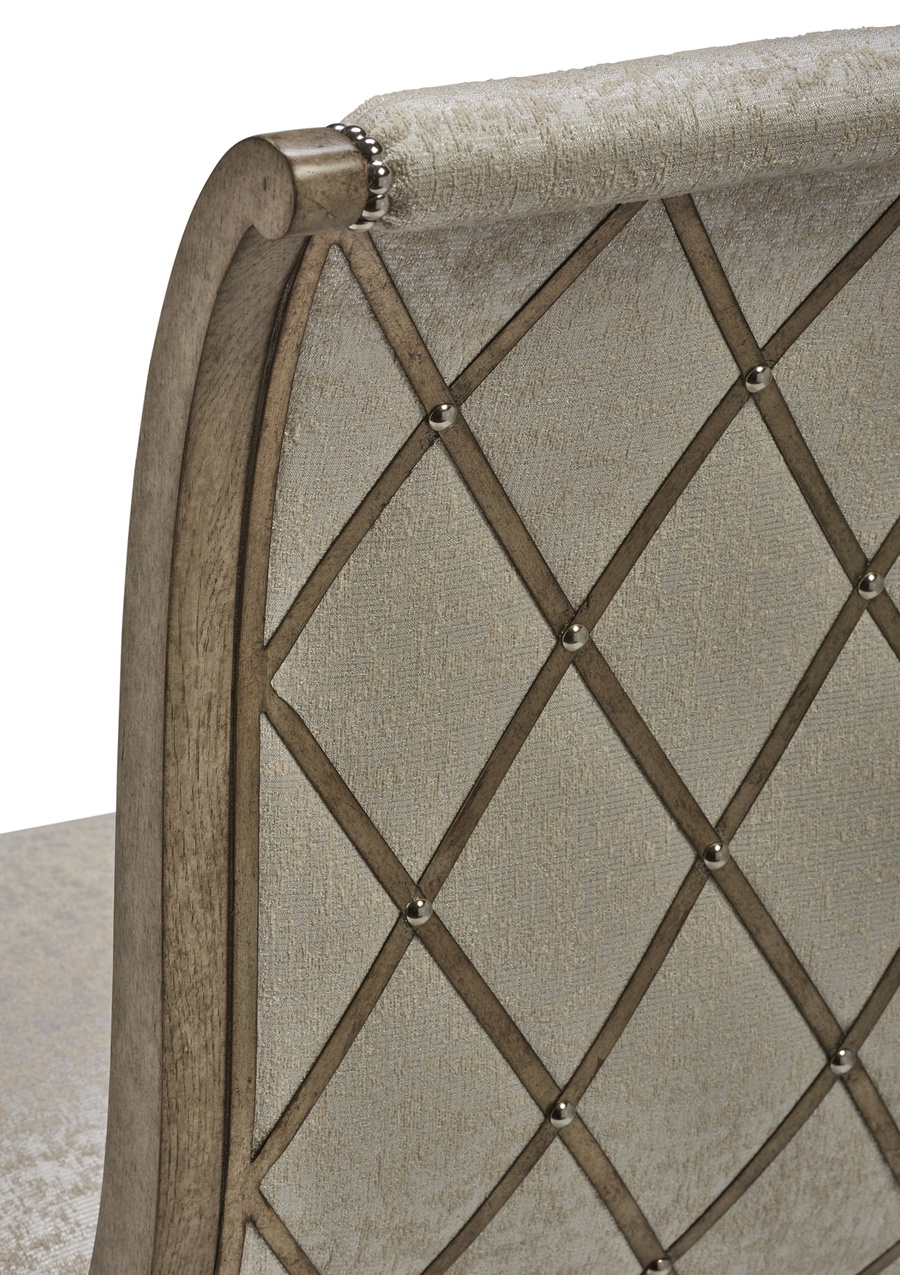 Arcadia Side Chair shown with:Dapple finishBurnished Silver Leaf finish trimSmall Silver nailhead