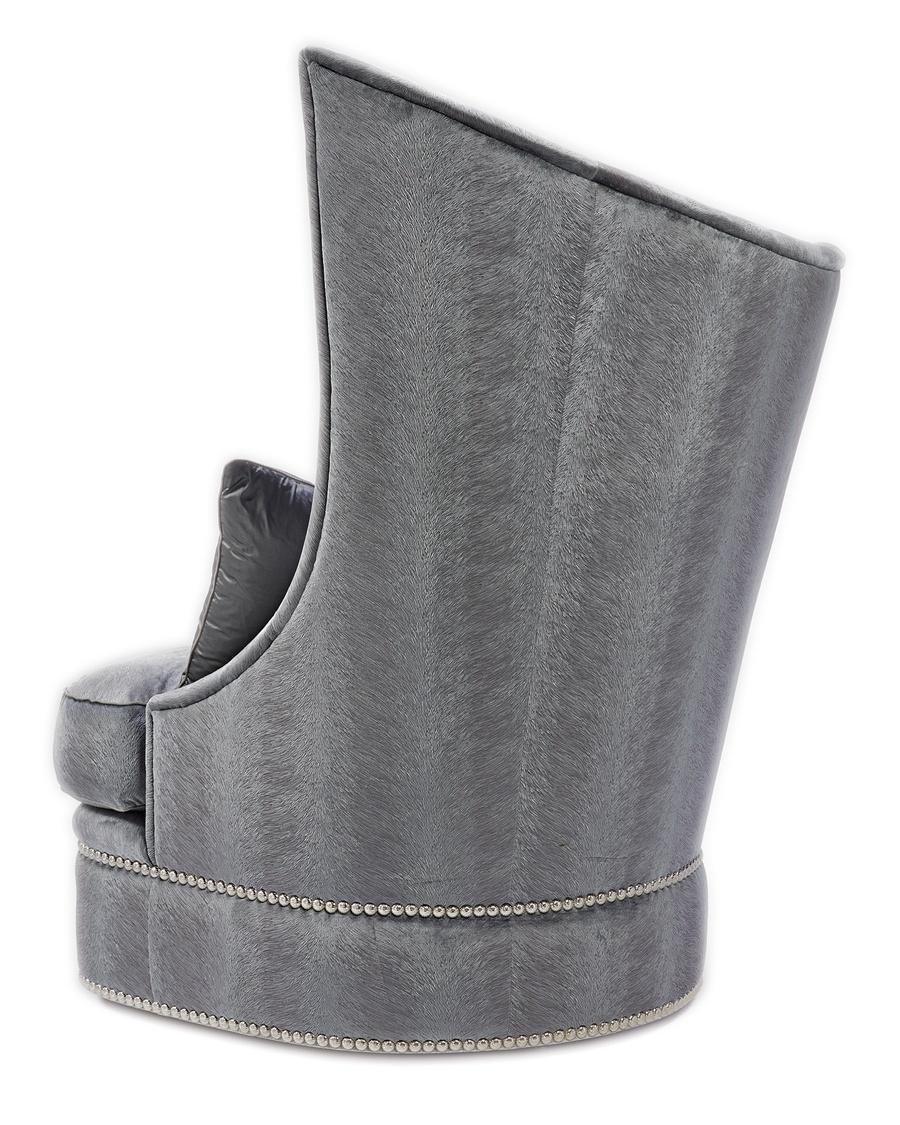 Artemis Chair shown with: Boxed seat cushionBullion Silver Nile nailhead frame trim