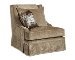 Ashton Chair shown with: Boxed seat cushionDeep skirt Silver nailhead frame trim withGreek Key detail on sides