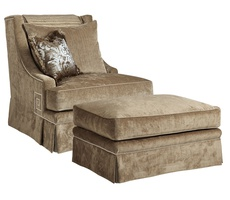 Ashton Chair shown with:Boxed seat cushionDeep skirtSilver nailhead frame trim withGreek Key detail on sides