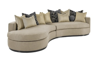 Aurora 2-Piece Sofa shown with:Boxed bench seatBuilt-to-the-floor with wood plinth in Bombay finishSmall gunmetal nailhead trim spaced over fabric tape