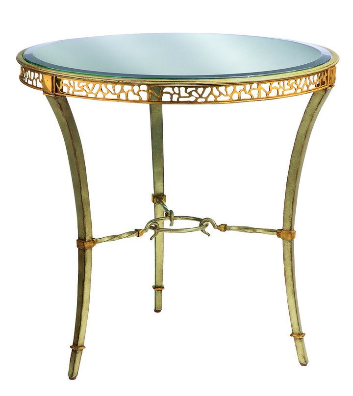 Bolero Round EndTable shown with:Medicifinish Venetian Gold Leaf finishtrimClear mirrortop with beveled edge