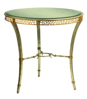 Bolero Round End Table shown with:Medici finishVenetian Gold Leaf finish trimAntique mirror top with beveled edge