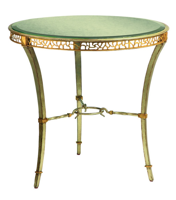 Bolero Round End Table shown with:Medici finish Venetian Gold Leaf finish trimClear mirror top with beveled edge