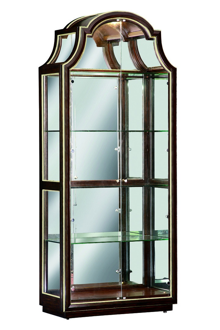 Bolero Display Cabinet shown with:Bombay finishDeco Silver Leaf finish trimPolished Nickel hardwareClear Mirror back