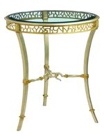 Bolero Round Chairside Table shown with:Deco Silver finishMedici Leaf finish trimClear glass top with beveled edge