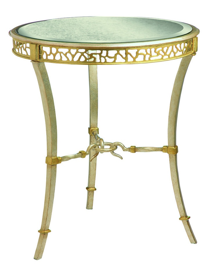 Bolero Round Chairside Table shown with:Deco Silver finishMedici Leaf finish trimAntique Mirror top with beveled edge