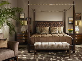 Bolero Bedroom Bolero Bench shown with:Channeled SeatHavana finishEbony Paint finish trimDecorative metalwork in Medici finish withSpecialtyLeaf finish trimZen nailhead frame trim Available in a selection of finishes and finish trims